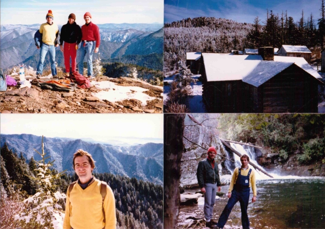 Clockwise from upper left. Mark, Jim, MIke at Myrtle Point on Mt. Leconte, Snow covered cabins on Le Conte, MIke and Mark at Abrams Falls, Mark on Alum Cave trail