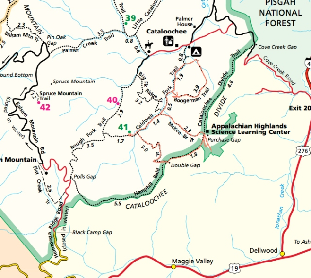 Trailmap with route is traced in Orange. Boogerman was hiked from lower point to upper point.