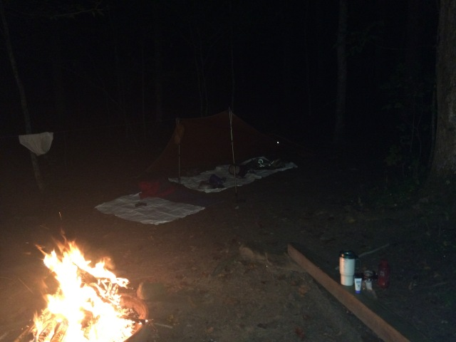 Campsite at Chambers Creek at night.
