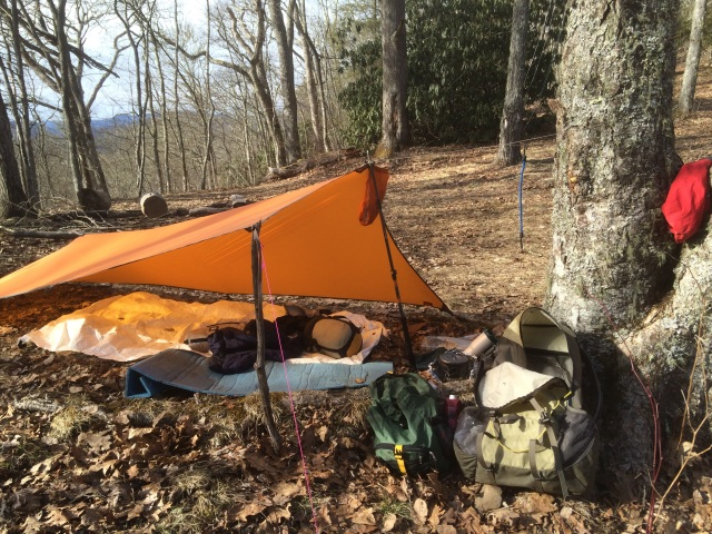 My camp on top of Newton Bald. Seems like I am always camping at this site or passing through. This is my 3rd time camping on Newton Bald.