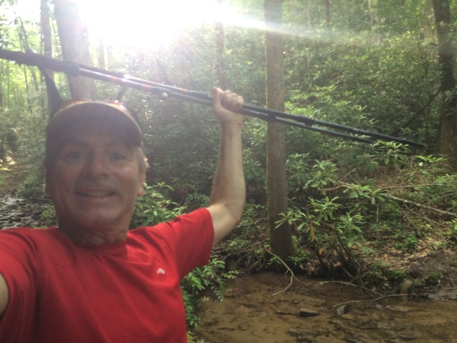 Here I am at the end of White Oak Branch trail celebrating having finished hiking all 900 miles of trails in the Great Smoky Mountain National Park.