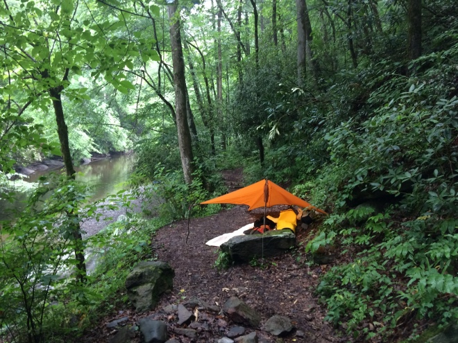 My campsite where Slickrock Creek spills into Lake Calderwood.