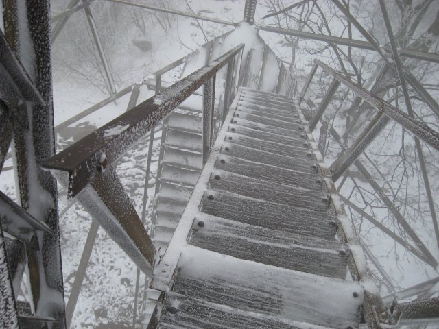 Shuckstack Fire Tower in Snow