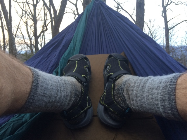 My feet at Wayah trail shelter on AT. Had the shelter to myself and dozed off next to the campfire.